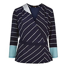 Buy Jaeger Graphic Striped Top, Navy/Ivory Online at johnlewis.com