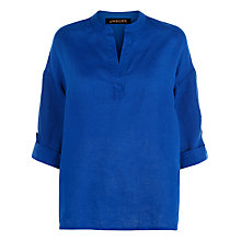 Buy Jaeger Linen V-Neck Top, Bright Blue Online at johnlewis.com