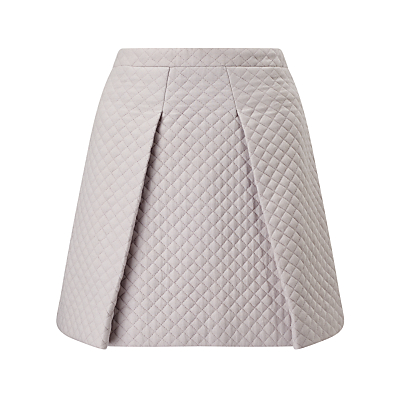 ST Studio Quilted Skater Skirt, Pebble Grey