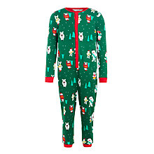 Buy John Lewis Children's Yeti Christmas Onesie, Green Online at johnlewis.com