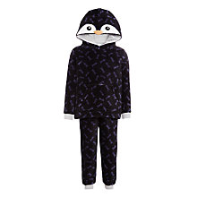 Buy John Lewis Children's Two Piece Fleece Penguin Pyjamas, Black Online at johnlewis.com