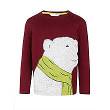 Buy John Lewis Boys' Polar Bear Scarf T-Shirt, Burgundy Online at johnlewis.com