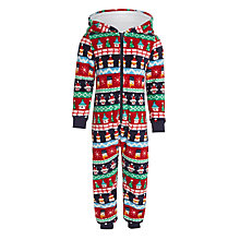 Buy John Lewis Children's Christmas Fair Isle Onesie, Red Online at johnlewis.com