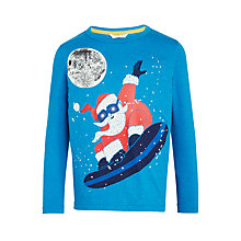 Buy John Lewis Boys' Snowboarding Santa Glow In The Dark T-Shirt, Blue Online at johnlewis.com