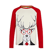 Buy John Lewis Boys' Dapper Stag T-Shirt, Cream/Red Online at johnlewis.com
