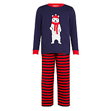 Buy John Lewis Children's Polar Bear Fleece Pyjamas, Navy/Red Online at johnlewis.com