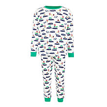 Buy John Lewis Children's Christmas Taxi Pyjamas, White Online at johnlewis.com