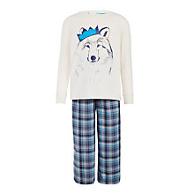 Buy John Lewis Children's Wolf Pyjamas, White/Blue Online at johnlewis.com