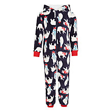 Buy John Lewis Children's Polar Bear Print Onesie, Navy/Multi Online at johnlewis.com