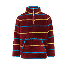 Buy John Lewis Boys' Multi Stripe Half Zip Fleece, Burgundy/Multi Online at johnlewis.com