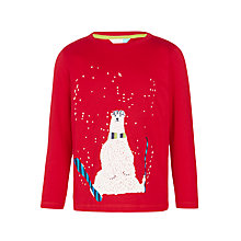 Buy John Lewis Boys' Skiing Polar Bear T-Shirt, Red Online at johnlewis.com