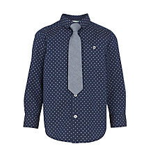 Buy John Lewis Boys' Printed Shirt and Tie Set, Navy Online at johnlewis.com