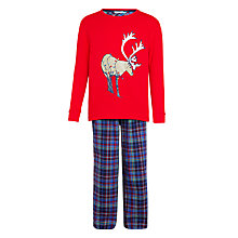 Buy John Lewis Boys' Reindeer Pyjamas, Red Online at johnlewis.com