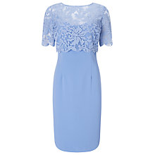 Buy Jacques Vert Embroidered Layer Crepe Dress, Light Blue Online at johnlewis.com