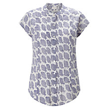 Buy East Pineapple Pintuck Blouse, Blue Online at johnlewis.com