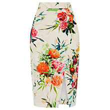 Buy Oasis Floral Pencil Skirt, Multi/Natural Online at johnlewis.com