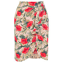 Buy Oasis Tropical Drape Front Skirt, Multi/Natural Online at johnlewis.com