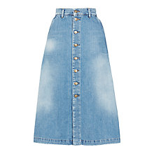 Buy 7 For All Mankind Long Denim Skirt, Victoria Blue Online at johnlewis.com