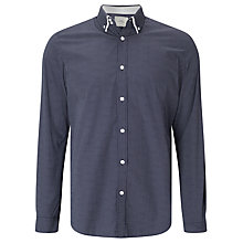 Buy John Lewis Double Collar Dot Print Shirt, Navy Online at johnlewis.com