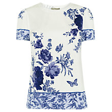 Buy Oasis Chintz Patched T-Shirt, Multi/Natural Online at johnlewis.com
