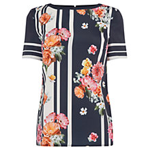 Buy Oasis Film Stripe Floral Mix T-Shirt, Navy Online at johnlewis.com