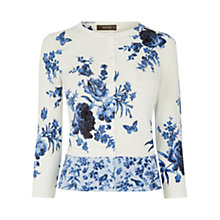 Buy Oasis Floral Chintz Crew Neck Cardigan, Off White Online at johnlewis.com