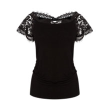 Buy Coast Gerson Lace Bardot Top, Black Online at johnlewis.com