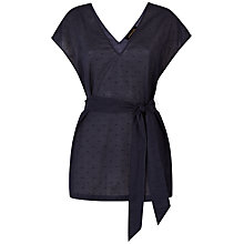 Buy Jaeger Cotton Belted Top, Navy Online at johnlewis.com