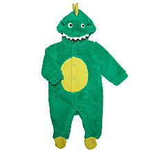 Buy John Lewis Baby Hooded Dino Romper Suit, Green Online at johnlewis.com