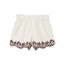 Buy Mango Kids Girls' Embroidered Shorts, White Online at johnlewis.com