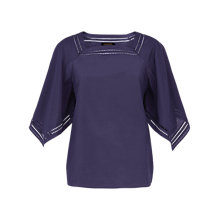 Buy Jaeger Cotton Silk Crochet Trim Top, Navy Online at johnlewis.com