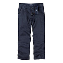 Buy Fat Face Cropped Linen Trousers, Navy Online at johnlewis.com
