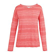 Buy Fat Face Polzeath Stripe Jumper, Coral Online at johnlewis.com