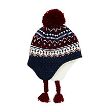 Buy John Lewis Children's Fair Isle Trapper Hat, Burgundy/Multi Online at johnlewis.com