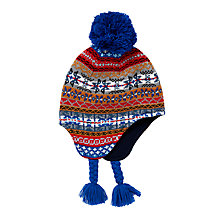 Buy John Lewis Children's Fair Isle Trapper Hat, Blue/Multi Online at johnlewis.com