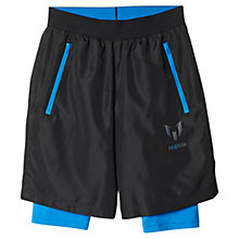 Buy Adidas Boys' Messi Quarter Shorts, Black/Blue Online at johnlewis.com