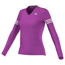 Buy Adidas Response V-Neck Long Sleeve Running Top, Purple/White Online at johnlewis.com