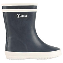 Buy Aigle Children's Baby Flac Marine Faux Fur Wellington Boots, Marine Online at johnlewis.com