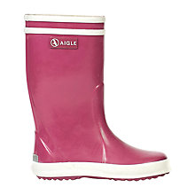 Buy Aigle Children's Flac Furry Wellington Boots, Pink Online at johnlewis.com