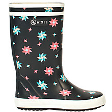 Buy Aigle Children's Lolly Pop Glitter Wellington Boots, Navy/Multi Online at johnlewis.com