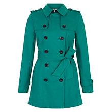 Buy Hobbs Sara Double Breasted Mac, Emerald Online at johnlewis.com