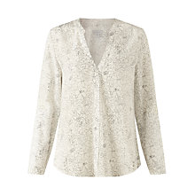 Buy Jigsaw Sketch Floral Open Neck Blouse, Ivory Online at johnlewis.com