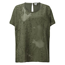 Buy Jigsaw Silk Jacquard Oversized Top, Khaki Online at johnlewis.com