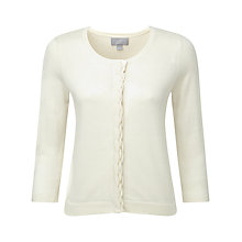Buy Pure Collection Savanna Scallop Cardigan, Linen White Online at johnlewis.com