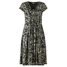 Buy Jigsaw Leaf Print Fit and Flare Dress, Khaki Online at johnlewis.com