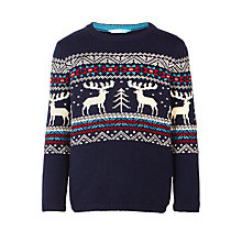 Buy John Lewis Boys' Crew Neck Reindeer Jumper, Navy Online at johnlewis.com