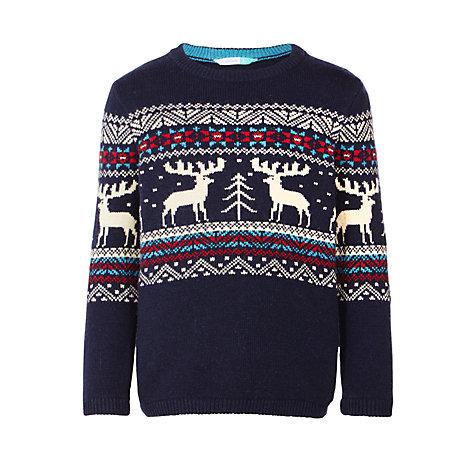 buy john lewis boys 39 crew neck reindeer jumper navy. Black Bedroom Furniture Sets. Home Design Ideas