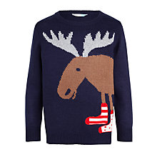 Buy John Lewis Boys' Moose Crew Neck Jumper, Navy Online at johnlewis.com