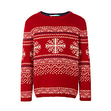 Buy John Lewis Boys' Crew Neck Snowflake Jumper, Red Online at johnlewis.com