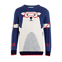 Buy John Lewis Boys' Ski Polar Bear Jumper, Blue Online at johnlewis.com